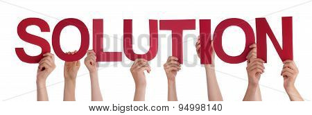 Many People Hands Hold Red Straight Word Solution