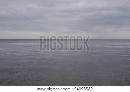 Baltic Seascape With Ship In Distance