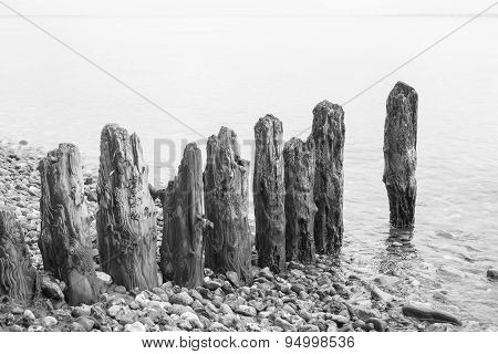 Weathered Wooden Groin At Beach