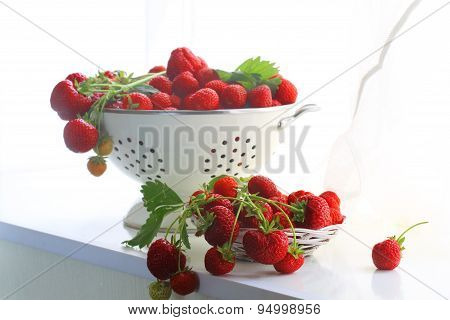 Strawberry, Ripe Fresh Red Strawberry In A Bowl On A White Window Sill