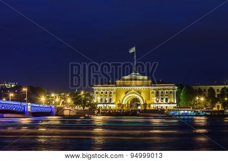 Admiralty Building And  Palace  Bridge In St. Petersburg At Night
