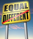 stock photo of all-inclusive  - equal or different equality in rights and opportunity for all no discrimination or racism embrace diversity  - JPG