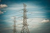 picture of power transmission lines  - Dark noise vintage effect filter of Power Transmission Line - JPG