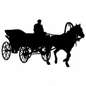 pic of carriage horse  - Silhouette horse and carriage with coachman - JPG