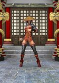 stock photo of battle  - 3D digital render of a beautiful Asian battle woman on a traditional temple background - JPG