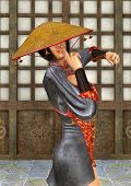 pic of battle  - 3D digital render of a beautiful Asian battle woman on a traditional temple background - JPG