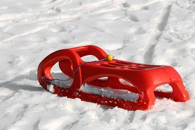 image of rebs  - reb sled for playing in the snow in mountains in winter - JPG