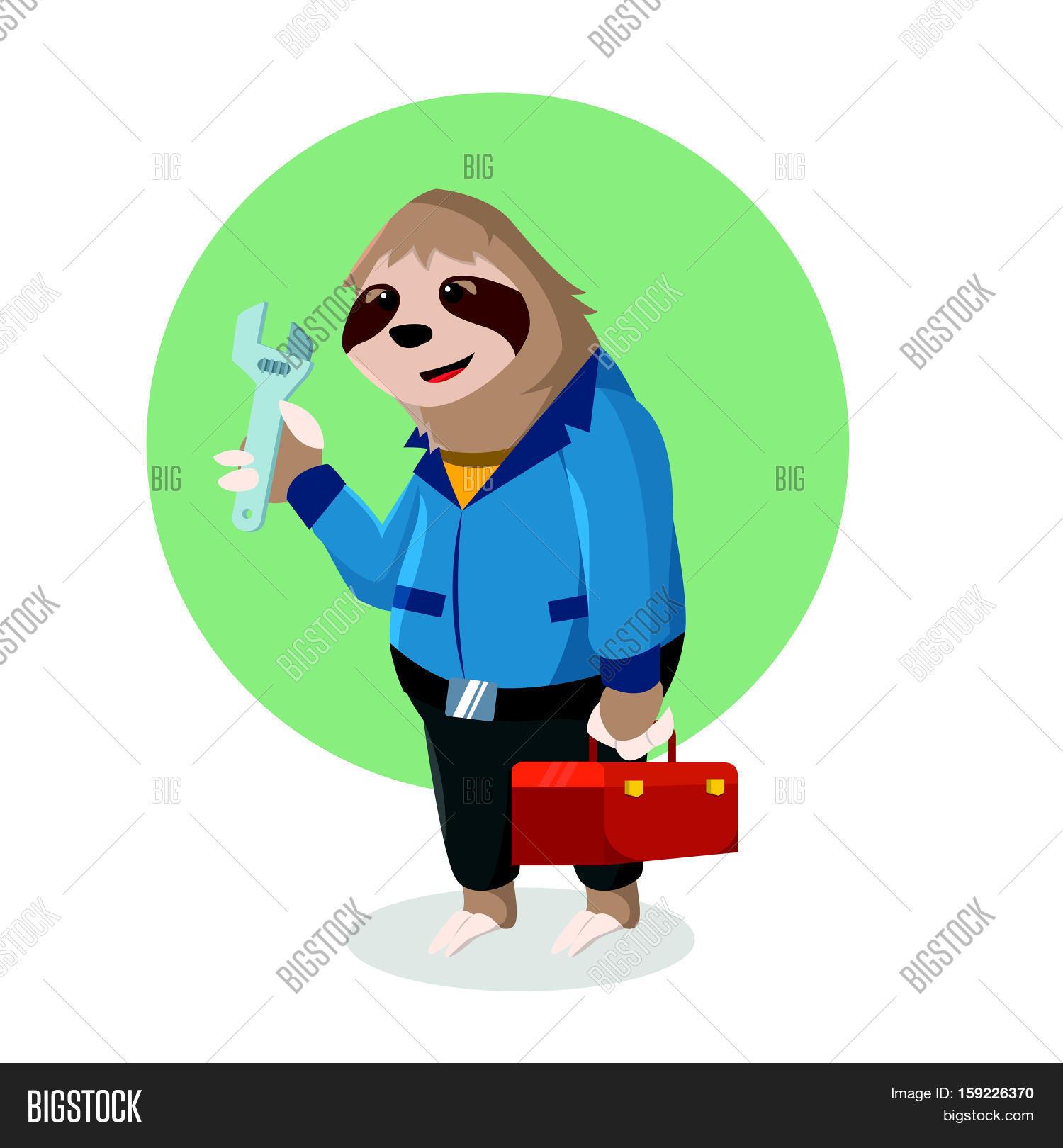 sloth handyman holding tool box vector u0026 photo bigstock
