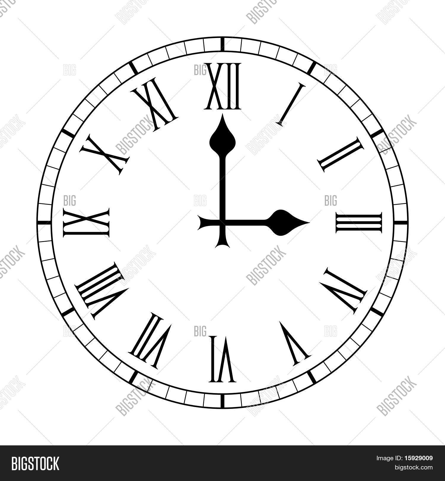 Plain Roman Numeral Clock Face Vector Amp Photo Bigstock