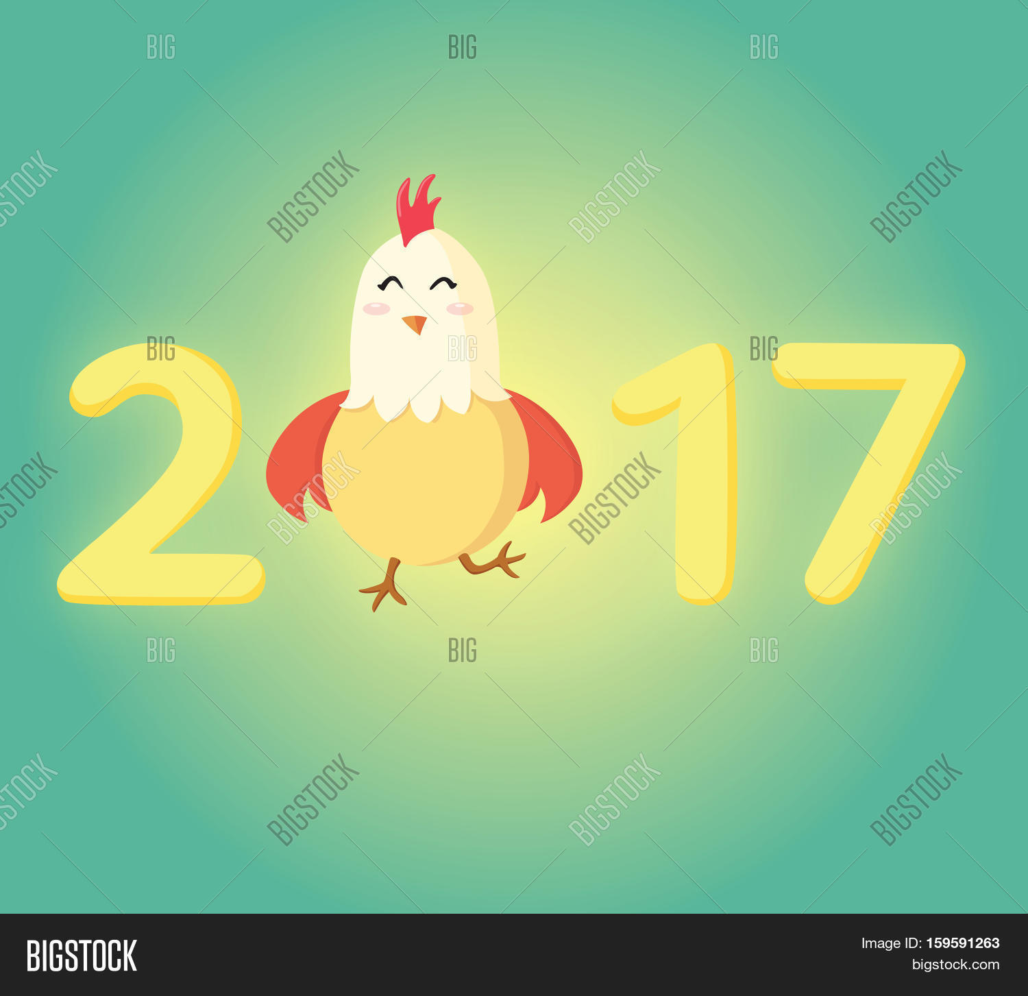 New year 2017 greeting pictures year of rooster happy chinese new year - Happy Rooster 2017 Chinese New Year Greeting Card Little Yellow Chick Standing As A Part