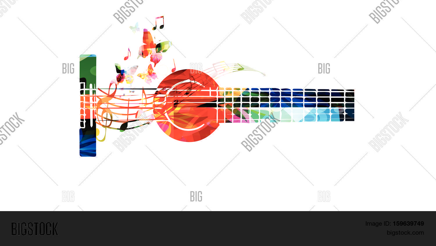 Poster design notes - Colorful Guitar With Music Notes Vector Illustration Music Background Music Instrument Poster Guitar
