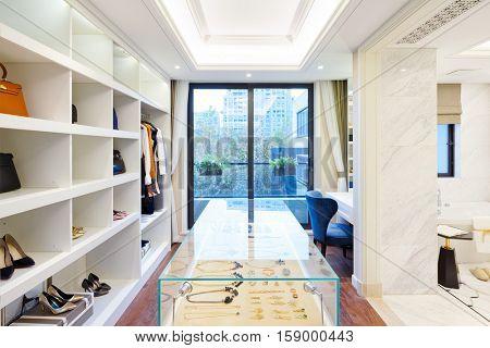 interior of moder wardrobe