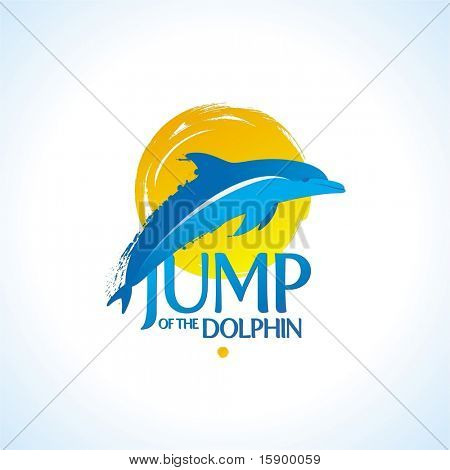 Vector illustration - dolphin jump out of the water