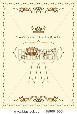 Marriage certificate document template for design. Vector illustration