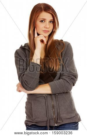 Teenage woman with folded hands.