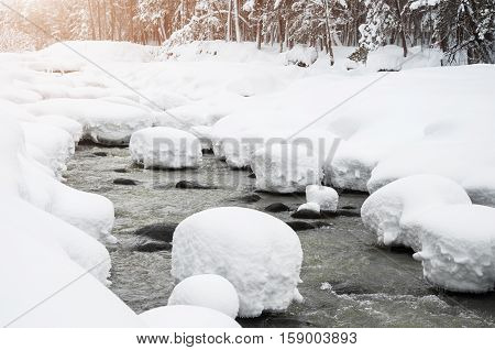 Snowfall On The Mountain River