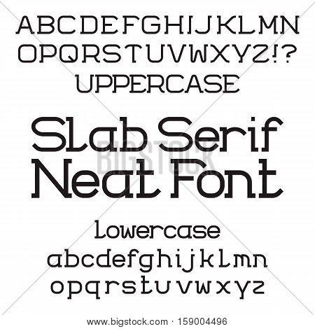 Black uppercase and lowercase letters. Neat slab serif font. Isolated english alphabet.