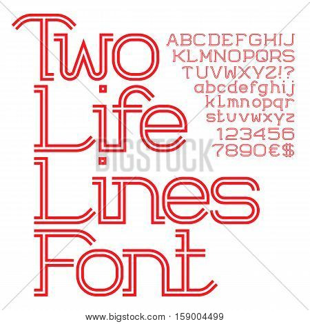 Red white strip uppercase and lowercase letters and numbers. Two life lines font. Isolated english alphabet with figures.