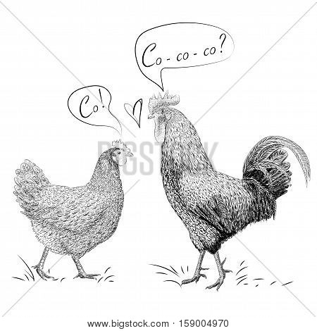 Cock rooster hen chicken grass heart couple in love say saying co Valentine's Day card sign love postcard. Vector close-up line black outline side view beautiful illustration isolated white background