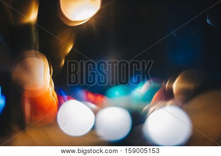 Defocused abstract bokeh lights in the city