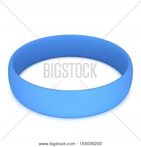Blue rubber plastic stretch white bracelet. 3d render isolated on white background.