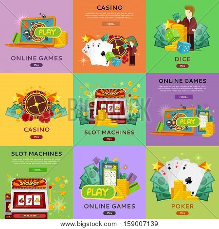 Casino, slot machines, dice, poker and online games banners. European roulette wheel, chips, croupier, craps dice, slot machine and playing cards on color background. Banner for online casino