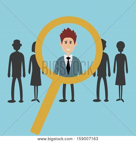 Searching for the best candidate with a magnifying glass - hiring for a job concept - vector