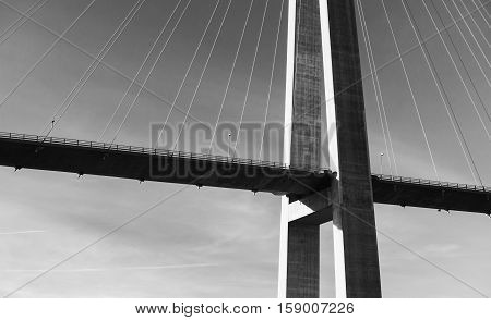 Black And White Photo Of Cable-stayed Bridge