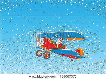 Christmas background with Santa Claus flying his old wood airplane through snowfall