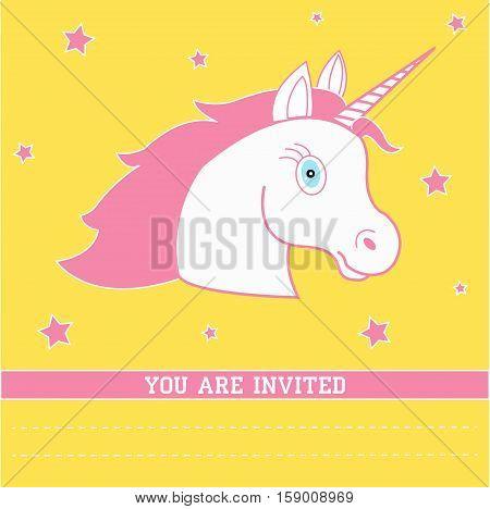 Birthday card with unicorn. Birthday invitation, vector