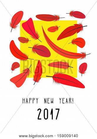 Design New Year card with red feathers and yellow square. Bright composition. Vector illustration