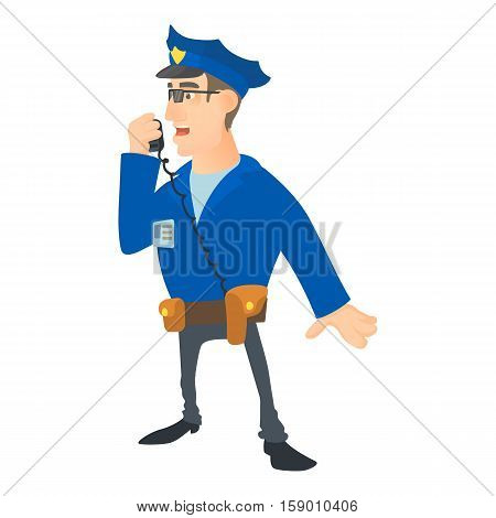 speaking policeman icon. Cartoon illustration of speaking policeman vector icon for web