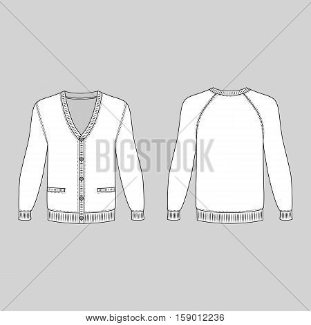 Blank long sleeve raglan cardigan outlined template (front & back view) vector illustration isolated on grey background