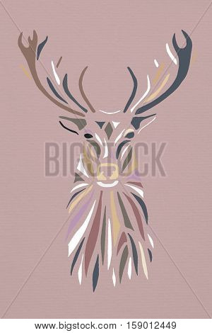 Multicolor pastel silhouette face of deer on pink background. Stencil.