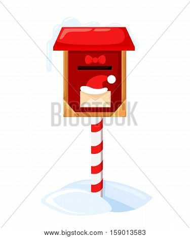 Santa S Mailbox Vector Illustration Of A Letter For Santa Claus Merry Christmas And Happy New Year.