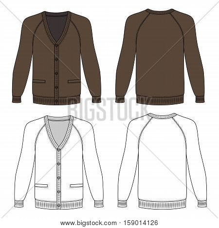 Blank long sleeve brown raglan cardigan outlined template (front & back view) vector illustration isolated on white background