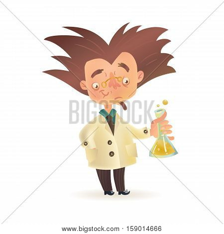 Stereotypic bushy haired mad professor in lab coat holding chemical flask, cartoon illustration isolated on white background. Crazy comic scientist, mad professor, chemist, doctor