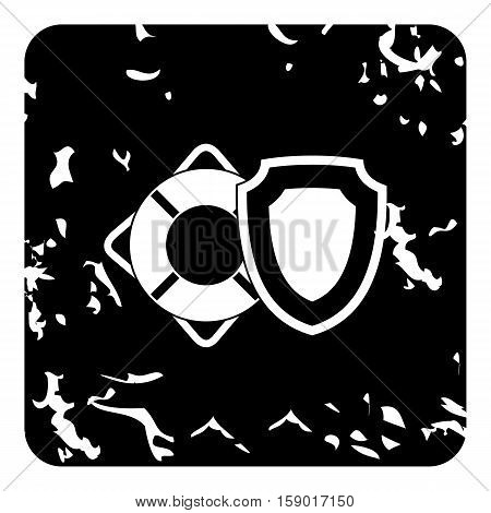 Lifebuoy and safety shield icon. Grunge illustration of lifebuoy and safety shield vector icon for web