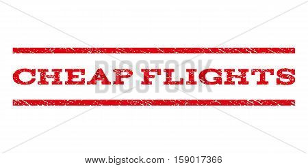 Cheap Flights watermark stamp. Text tag between horizontal parallel lines with grunge design style. Rubber seal stamp with dirty texture. Vector red color ink imprint on a white background.