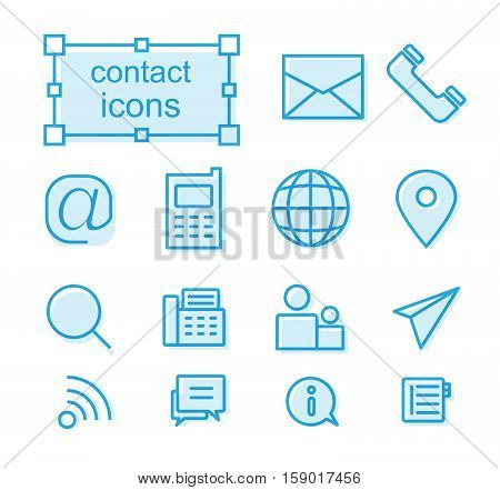 Thin line icons set, Linear symbols set, Contact us