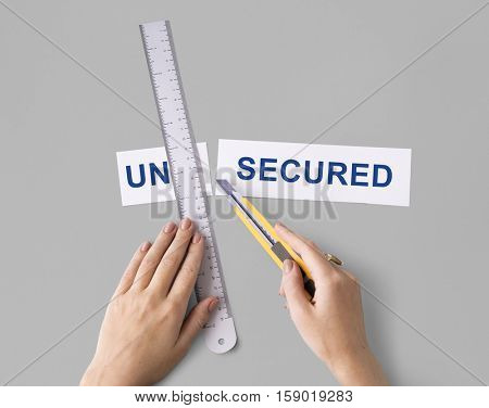 Unsecured Insecure Hand Cut Word Split Concept