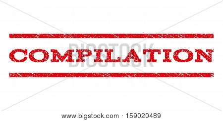 Compilation watermark stamp. Text tag between horizontal parallel lines with grunge design style. Rubber seal stamp with dirty texture. Vector red color ink imprint on a white background.