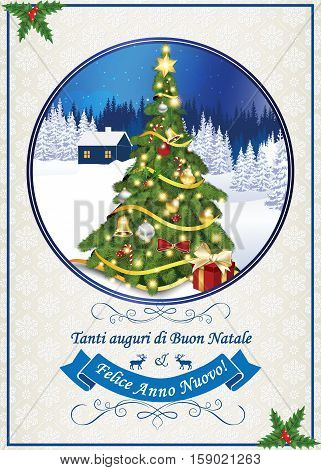 Italian seasons greetings for winter holiday (Merry Christmas and Happy New Year - Tanti auguri di Buon Natale & felice Anno Nuovo). Print colors used. Size of a custom printable card.