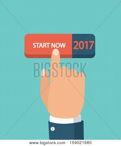 Hand pushing start button. New business, beginning and start up concept. Flat style.