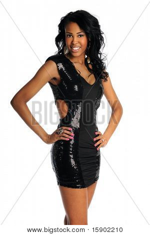 Portrait of beautiful African American woman in black dress isolated over white background
