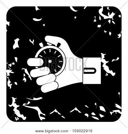 Hand holding stopwatch icon. Grunge illustration of hand holding stopwatch vector icon for web