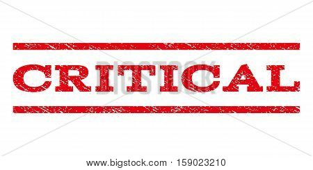 Critical watermark stamp. Text tag between horizontal parallel lines with grunge design style. Rubber seal stamp with unclean texture. Vector red color ink imprint on a white background.