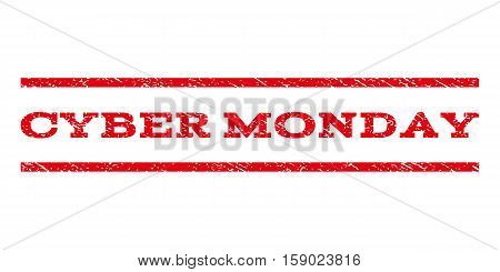 Cyber Monday watermark stamp. Text caption between horizontal parallel lines with grunge design style. Rubber seal stamp with scratched texture. Vector red color ink imprint on a white background.