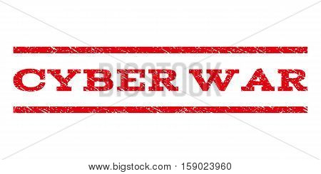 Cyber War watermark stamp. Text caption between horizontal parallel lines with grunge design style. Rubber seal stamp with dirty texture. Vector red color ink imprint on a white background.