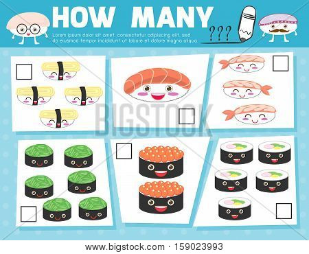 Counting Game for Preschool Children, Game for kids, Learning mathematics, Educational a mathematical game, How many objects on the picture, Counting game sushi, Vector Illustration